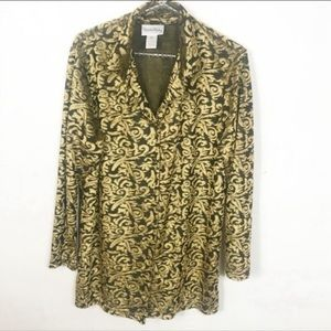 DVF l The Color Factory Gold Velvet Button Up